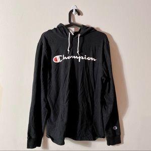 Champion | Thin Logo Hoodie in Black